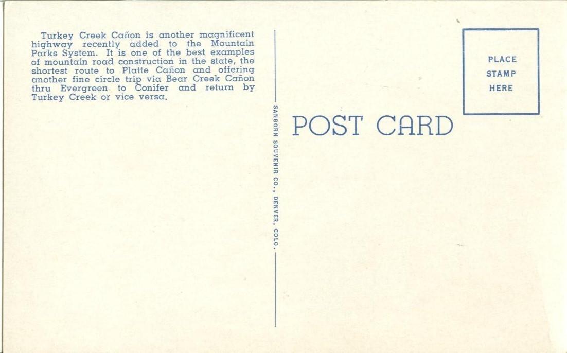 Turkey Creek Canyon, Denver Mountain Parks, Colorado, 1920s unused Postcard