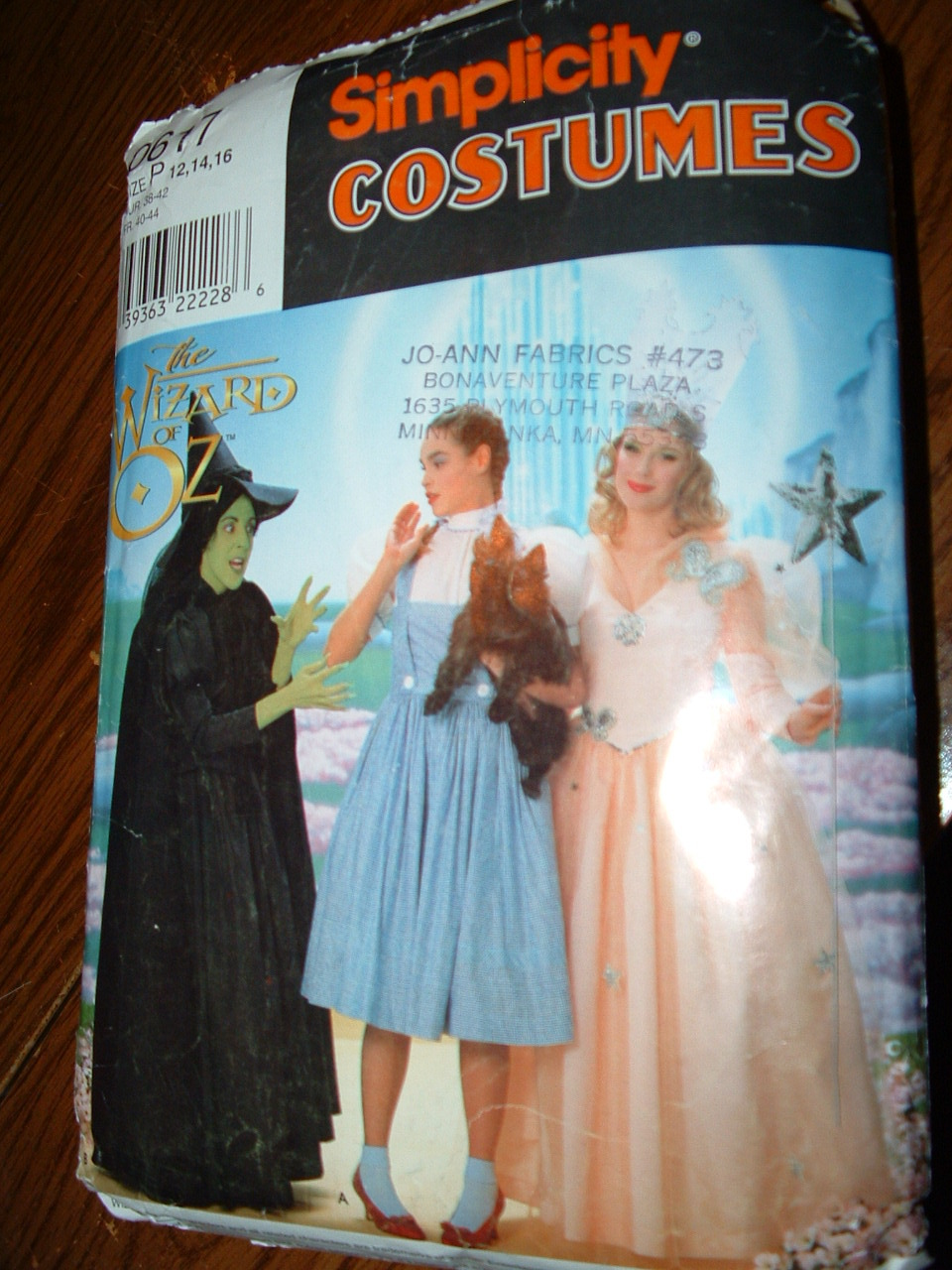 WIZARD OF OZ / SIMPLICITY COSTUME PATTERN # 0617 SZ. 12-16 - $19.99