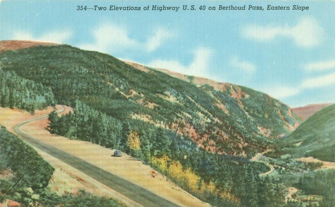 Two Elevations of Highway US 40 on Berthoud Pass, Eastern Slope, 1930s Postcard