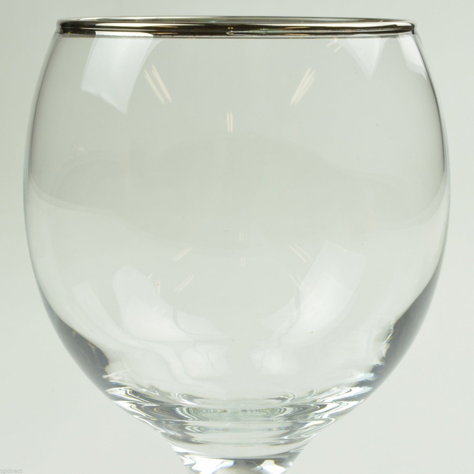 Gibson Everyday Essential Home Platinum Band Goblet Clear Glass Stemware Wine