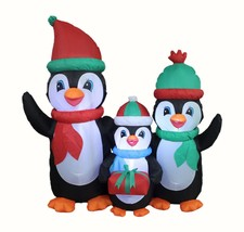 5 Foot Tall LED Christmas Inflatable Penguin Family with Gifts Yard Deco... - $79.00