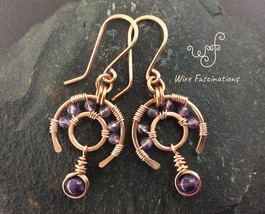 Handmade copper earrings: amethyst wire wrapped wagon wheels with dangle - $31.00