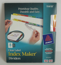 Avery Clear Label Index Maker Dividers 8 Tabs, 5 Sets #11419 - $24.49