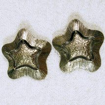 Modern Bold Star Clip Earrings Silver Tone Nickel Free Statement ✿ VTG Avon 90s  - $19.75