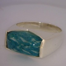 Blue Green Amazonite Unisex Gents Handmade Sterling Silver Ring size 11.5 - £91.37 GBP