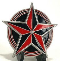 STAR Belt Buckle-Red/Black-2002 Great American Products Fine Pewter-4613 - $12.19