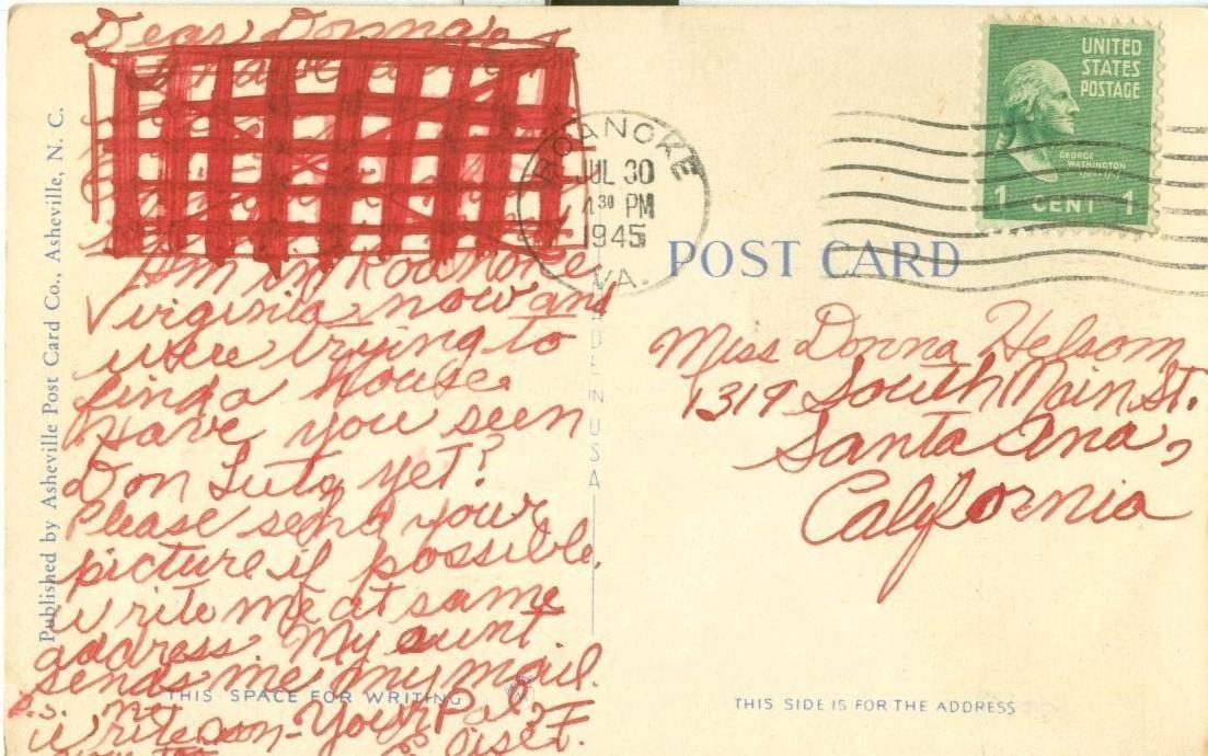 US Highway no. 11 near Roanoke, VA, 1945 used Postcard