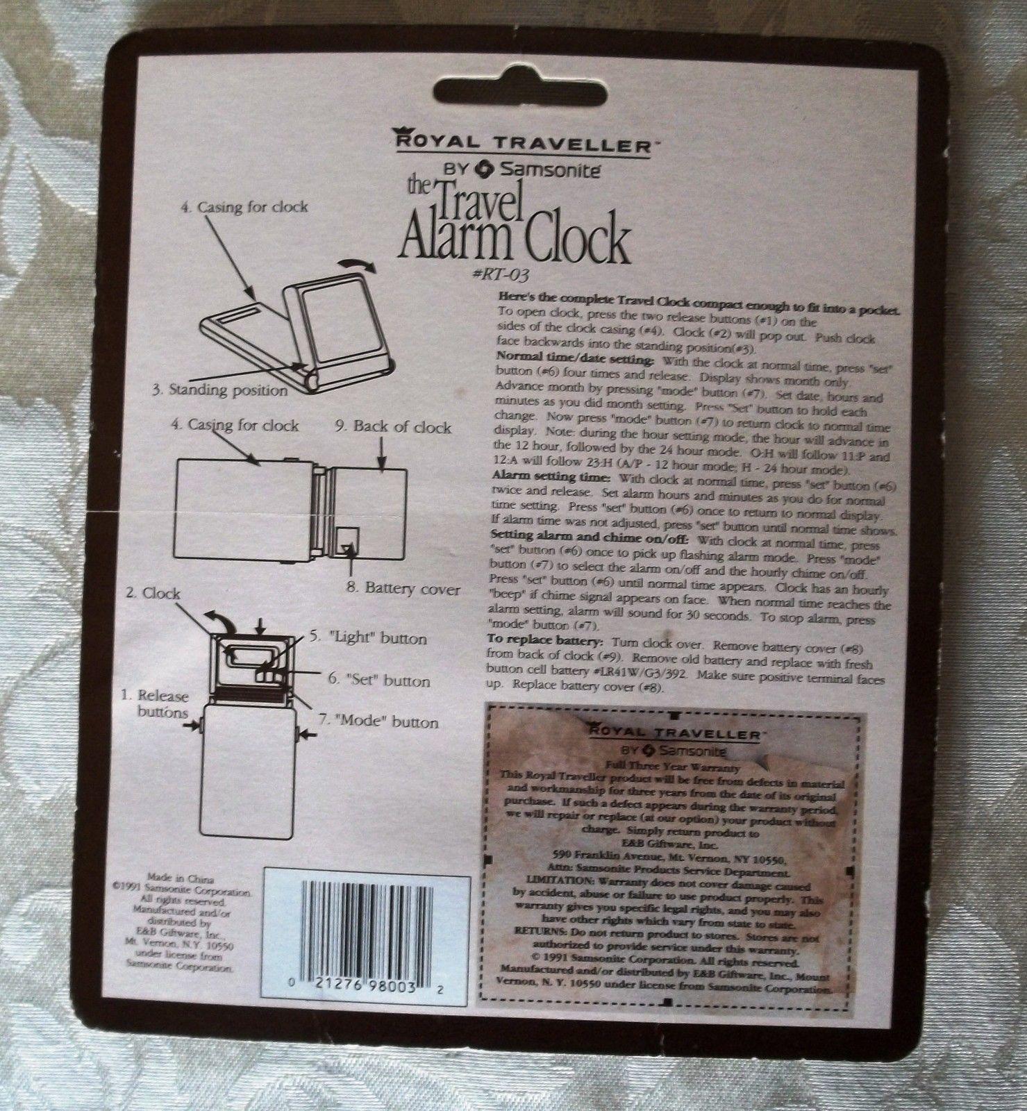 Travel Alarm Clock, Royal Traveler by Samsonite