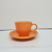 Homer Laughlin Fiesta Orange Tangerine Flat Cup & Saucer Set Discontinued 2018 - $8.99