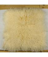 50x50cm Real Golden Beige Mongolian Tibetan Lamb Fur Wool Pillow Cushion... - $56.99