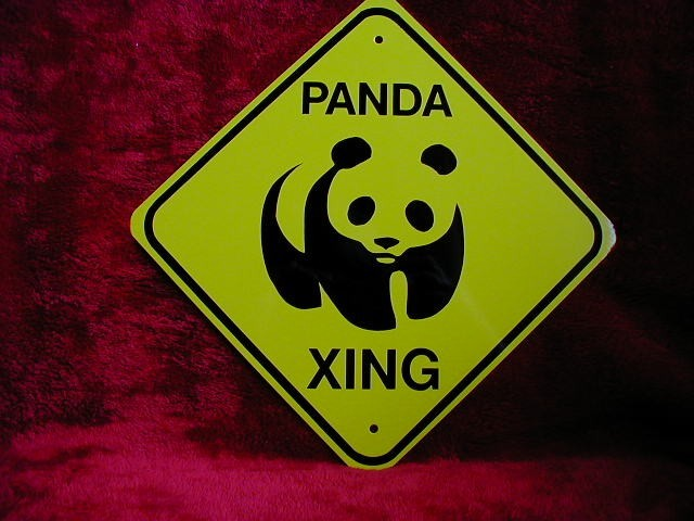 MINI MINIATURE YELLOW CUTEZ PANDA SIGN METAL