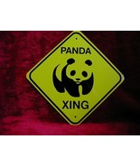 MINI MINIATURE YELLOW CUTEZ PANDA SIGN METAL - $5.00