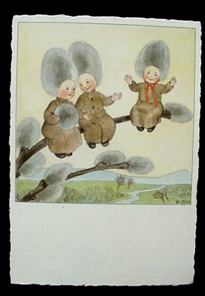 Ars Sacra Pussy Willow Fairy Babies Post Card Germany