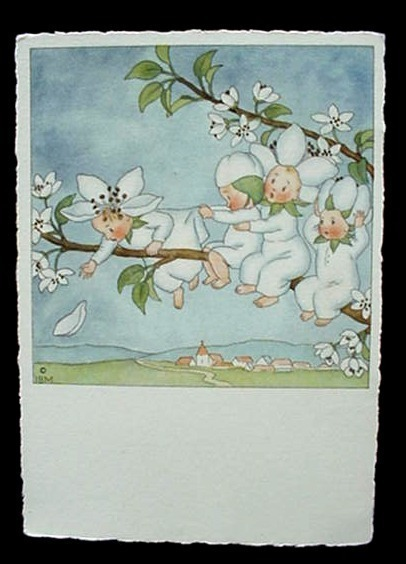 Antique Ars Sacra Flower Fairy Babies Post Card Germany