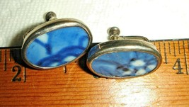 VTG STERLING SILVER HANDMADE RARE OOAK BROKEN CHINA PIN SKREWBACK EARRIN... - $297.99