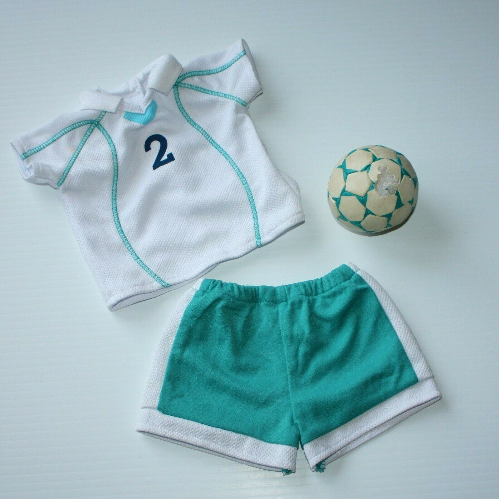 American 2-1 Soccer Outfit 2006 Top Shorts Ball For Doll Only - $8.99