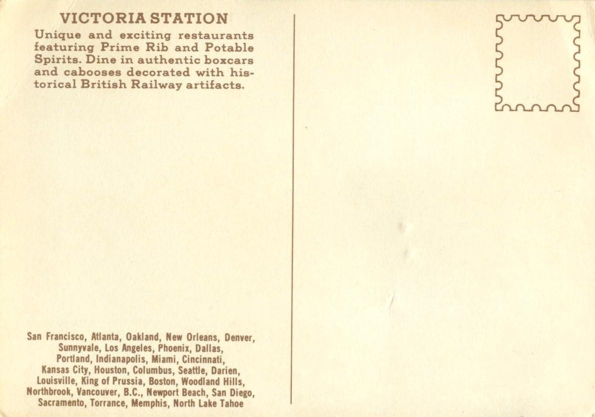 Victoria Station Restaurant, unused Postcard