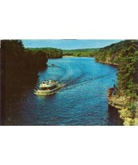 View looking up Wisconsin River, 1960s used Postcard  - $4.99