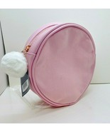 """Ulta Round Faux Leather / Suede Cosmetic Bag 8 x 2 1/2"""" Snowball """" Pink """" - $8.91"""
