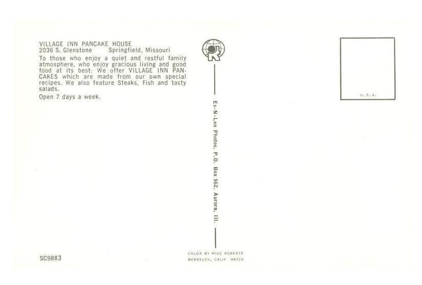 Village Inn Pancake House, Springfield, Missouri, 1960s unused Postcard