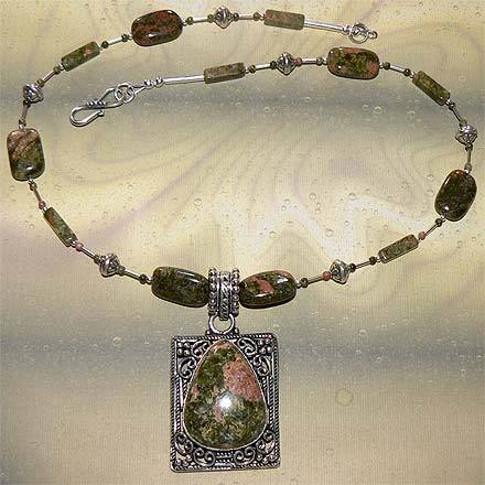 Sterling Silver Unakite Necklace
