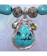 Sterling Silver Turquoise and Peridot Necklace - $90.00