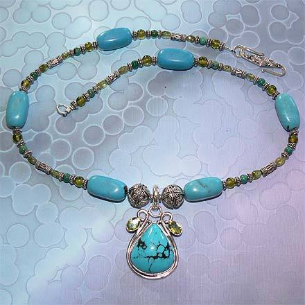 Sterling Silver Turquoise and Peridot Necklace