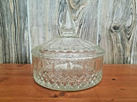 VINTAGE CRYSTAL GLASS CANDY DISH WITH LID STARBURST 6 INCH ROUND - $40.00