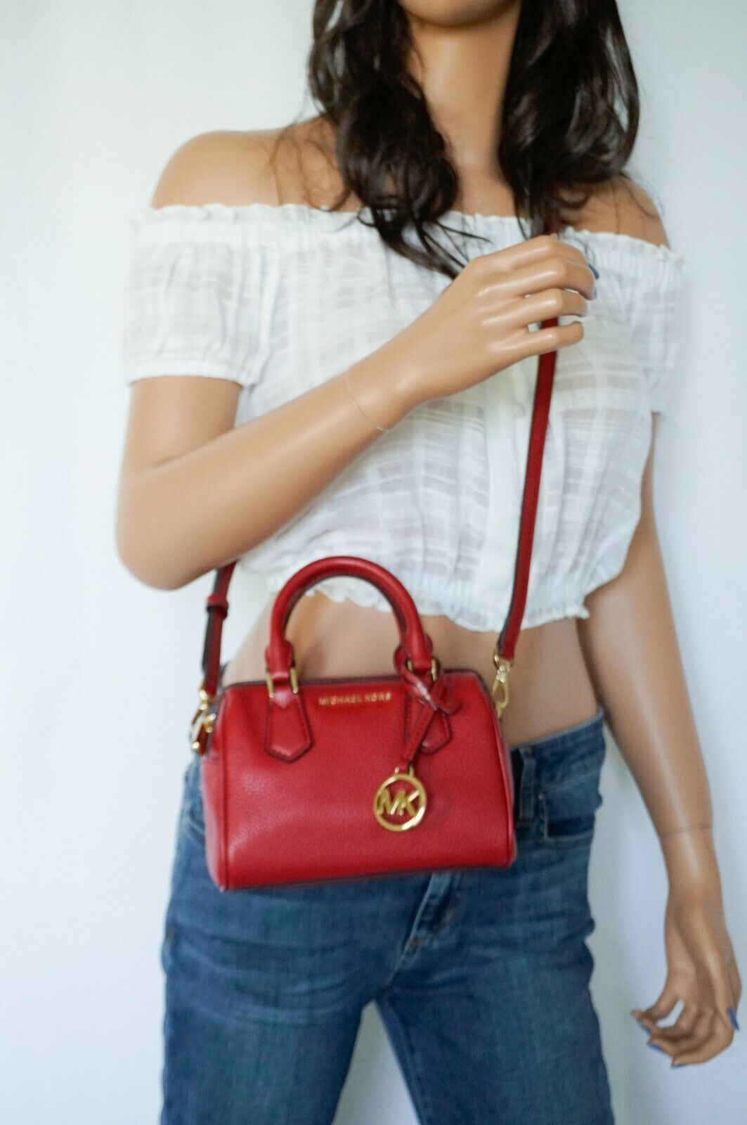 Primary image for Michael Kors Giftable Bedford MINI Pebbled Leather Crossbody Bag Scarlet