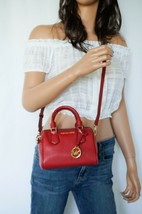Michael Kors Giftable Bedford MINI Pebbled Leather Crossbody Bag Scarlet - $89.09