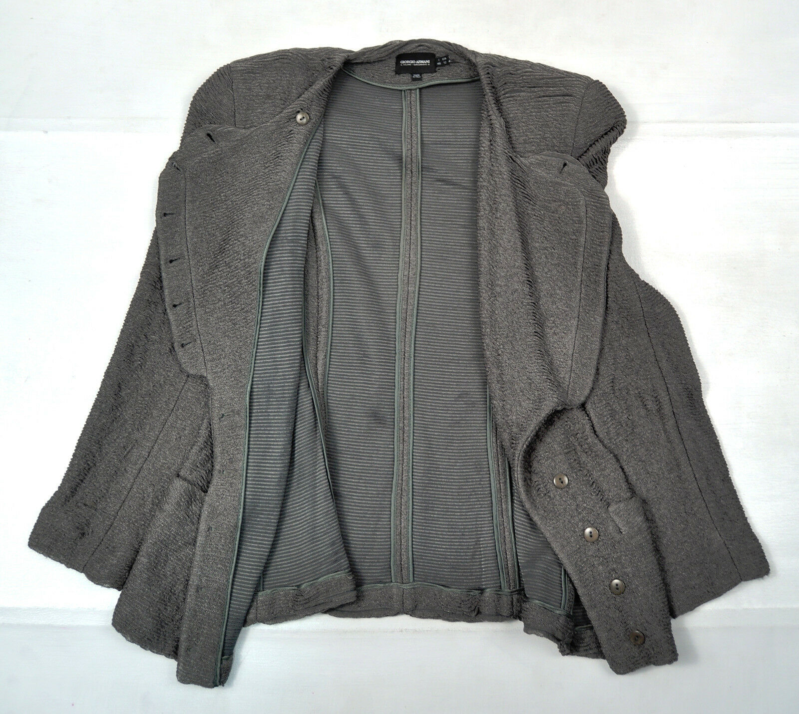 Giorgio Armani Black Label Green Ruffled Jacket Womens 46 12 Italy
