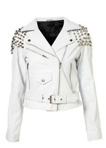 Women's White Color Real Leather Silver Spike Studded Zipper Belted Wais... - $156.79