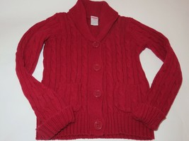 Gymboree Girls Cable Knit Cardigan sweater Red Holiday EUC - $15.79