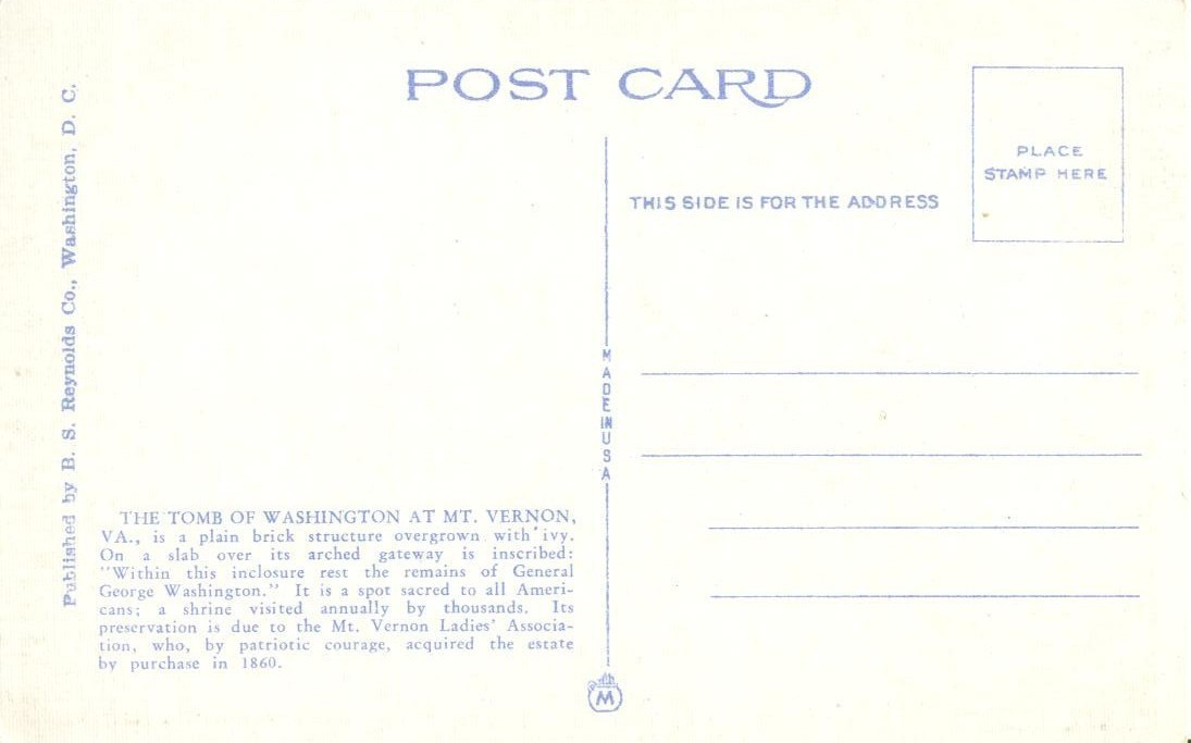 Washington's Tomb, Mt. Vernon, VA, early 1900s unused Postcard