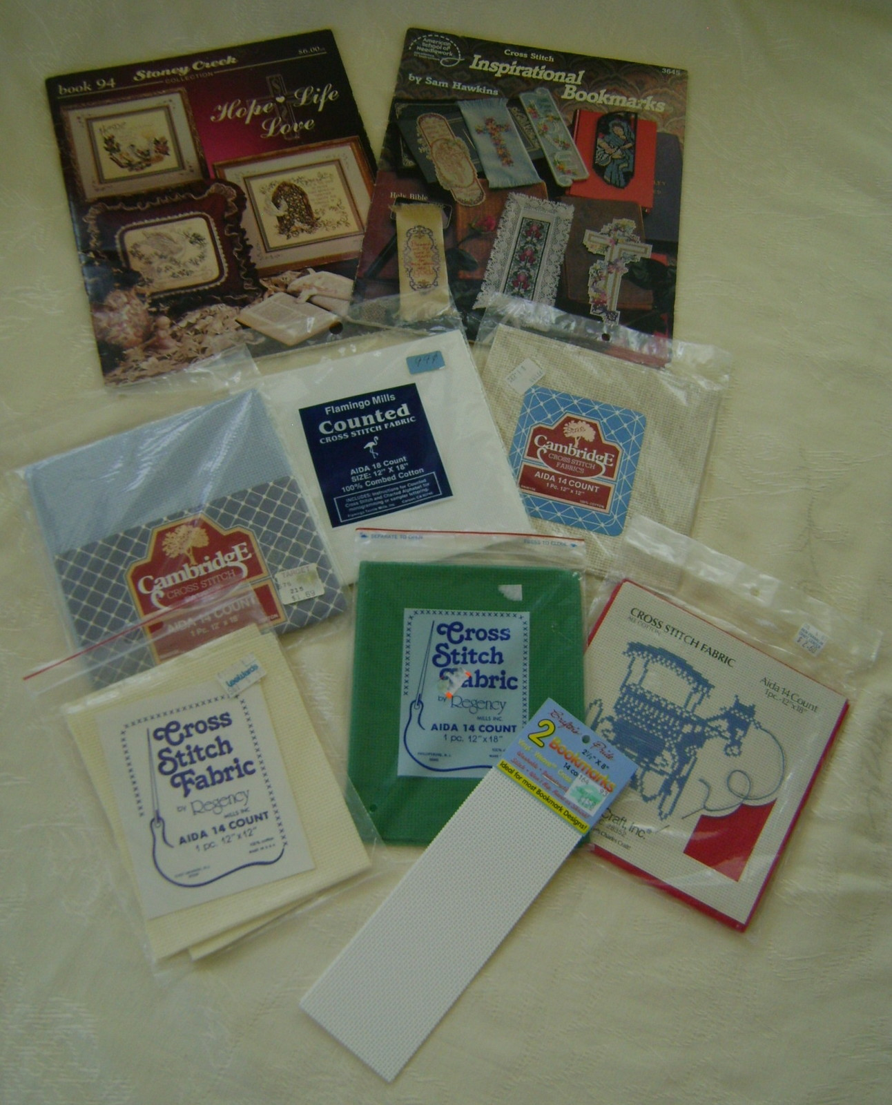 Pattern Kit Bookmarks - 2 Books Bookmarks & Samplers, 6 Packages Aida Cloth