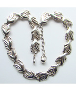 Vintage Napier Necklace Sterling Silver Floral Corn Links Beautiful Signed - $135.00