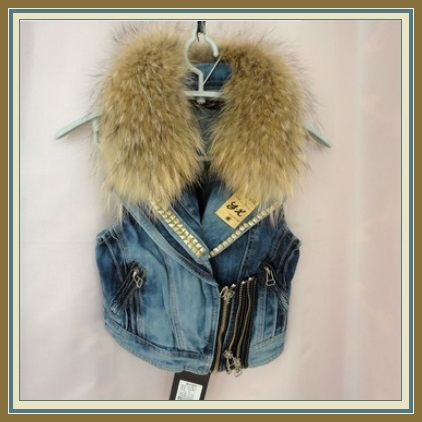 Retro 70's Big Lapel Raccoon Fur Collar Denim Motorcycle Vest Jacket w/ Studs