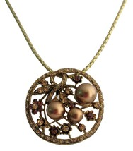 Bronze Pearl Lite Colorado Crystals Smoked Topaz Classy Pendant - $34.83