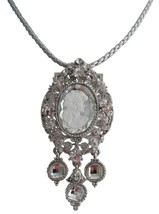 Dazzling Rhinestones Cameo Pendant Mother Gift Necklace - $27.68