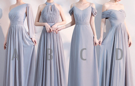 Gray Full Chiffon Bridesmaid Dresses Gray Wedding Bridesmaid Maxi Chiffon Dress  image 1