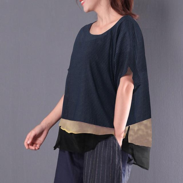 2018 ZANZEA Women O Neck Short Sleeve Stripe Cotton Linen Patchwork Blouse Summe