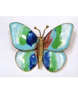 Green & Blue Watercolors Enameled Butterfly Brooch Pin - $24.50