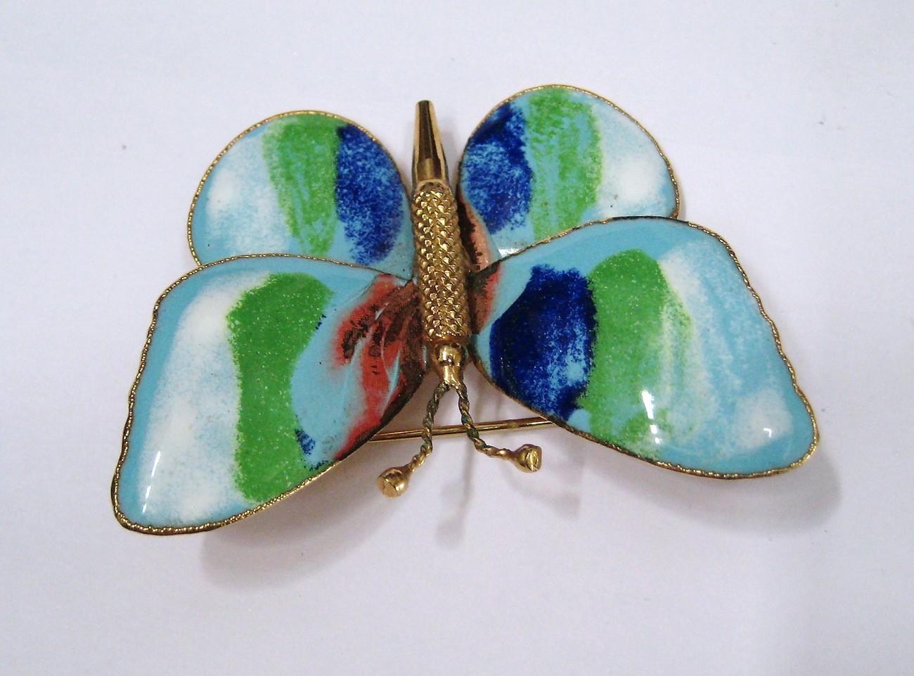 Green & Blue Watercolors Enameled Butterfly Brooch Pin
