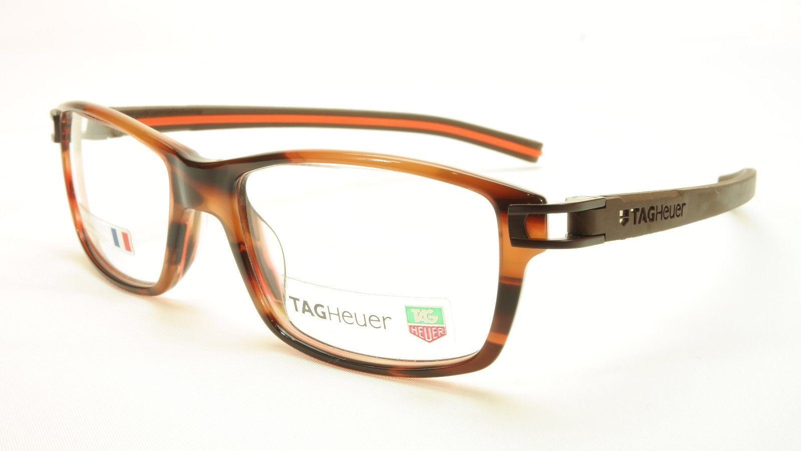 Tag Heuer Eyeglasses TH 7601 002 Brown Havana Orange Chocolate 55-17-145, 34 - $250.58