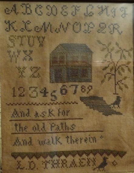 Walk The Old Paths sampler primitive cross stitch chart The Pinkeep