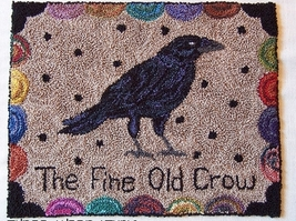 The Fine Old Crow Punchneedle chart embroidery Three Sheep Studio - $10.80