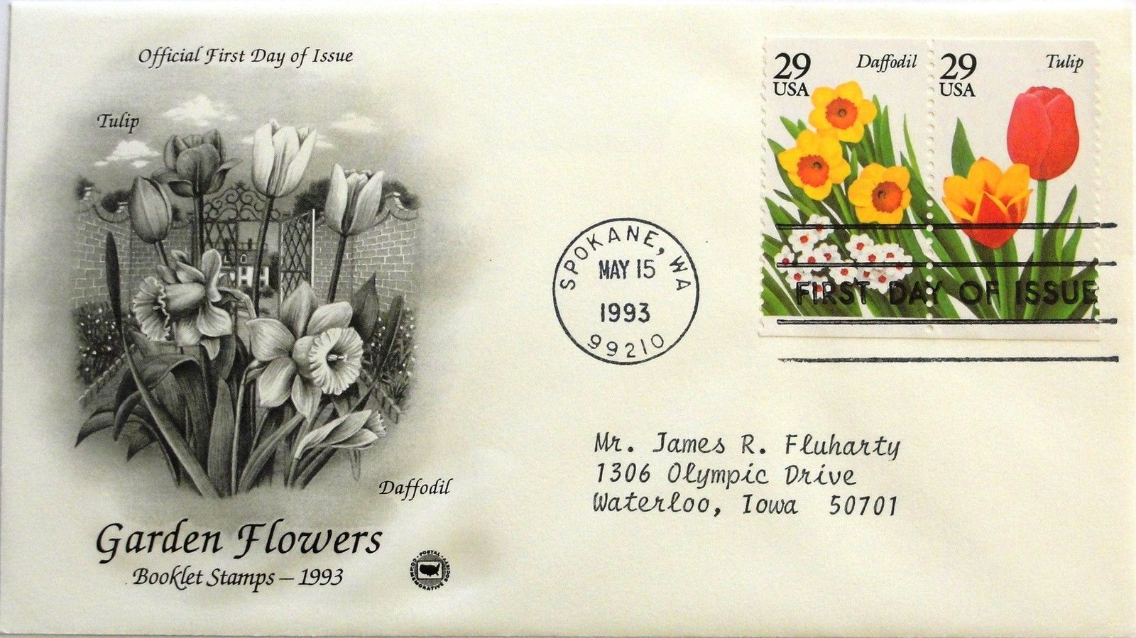 May 15, 1993 First Day of Issue, PC Society Cover, Garden Flowers Daffo/Tulip#19