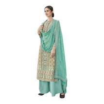 Designer Blue Straight Palazzo Long Muslim Salwar Kameez Printed Suit 7619 - $115.24
