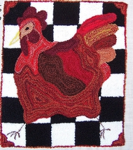 French Country Hen Punchneedle chart embroidery Three Sheep Studio - $10.80