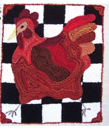 French Country Hen Punchneedle chart embroidery... - $10.80